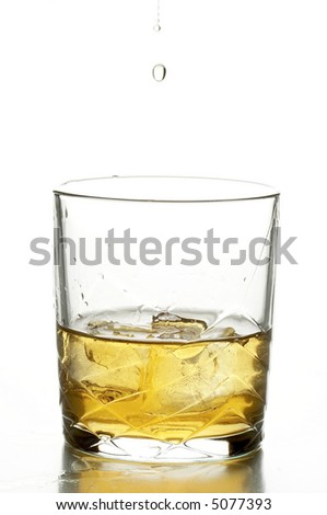 still life with whisky on the white background - stock photo
