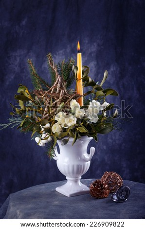 Still life with white roses and christmas decorations - stock photo