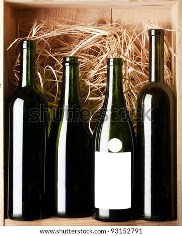 still life with wine glass in box - stock photo