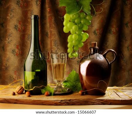 Still life with wine, retro style - stock photo