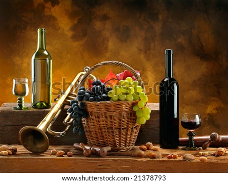 Still life with wines and trumpet - stock photo