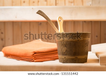 still live in a wooden sauna to relaxing - stock photo