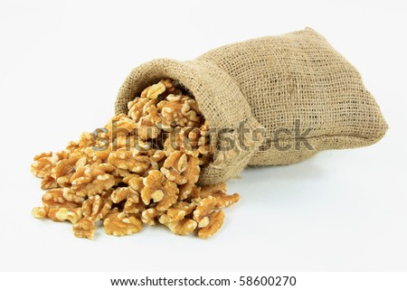 Still picture of Walnuts spilled from  burlap bag on pile over white background.
