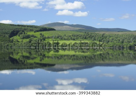 Still water and reflections, Loch Rannoch, Perthshire, Scotland, UK - stock photo