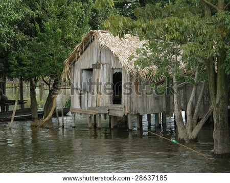 stilted house on the amazon river - stock photo