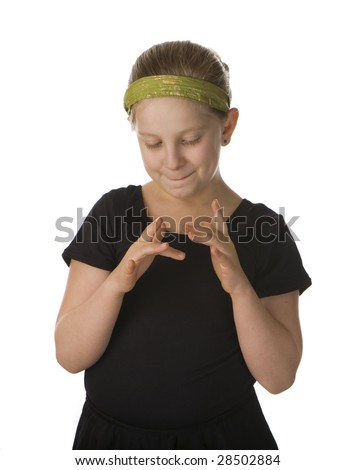 Stimming girl nervous in black against a white background - stock photo