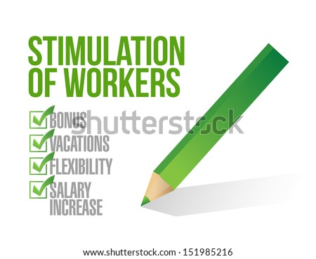 stimulation of workers. check list illustration design over white