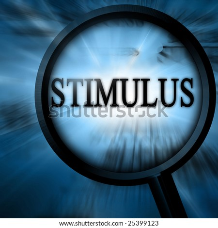stimulus with magnifier on a blue background - stock photo