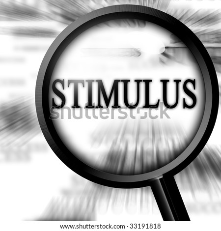 stimulus with magnifier on a white background - stock photo