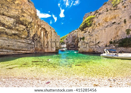 Stinva bay beach, wonder of geology on Vis island, Dalmatia, Croatia - stock photo