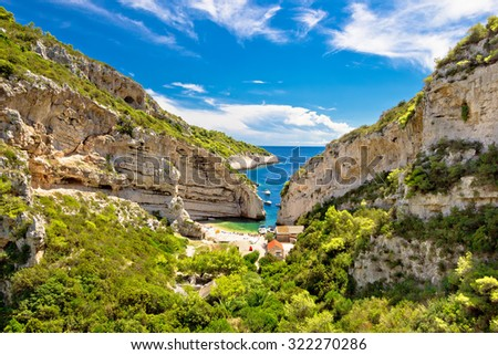 Stinva beach on Vis island idyllic bay, Dalmatia, Croatia - stock photo