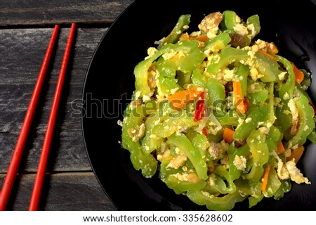 Stir Fried Bitter Gourd with Egg, chili and shredded carrot