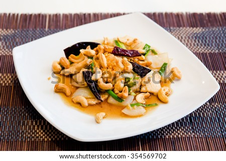 Stir-fried Chicken with cashew nuts  - stock photo