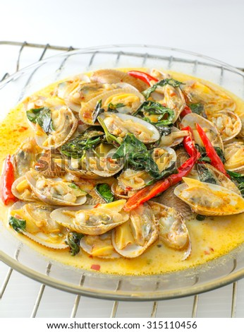 STIR FRIED CLAMS WITH ROASTED CHILI PASTE AND THAI BASIL LEAVES ...