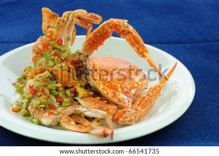 Stir-Fried crab with Garlic, Pepper, and Salt. - stock photo