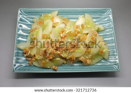 Stir fried cucumber with dried shrimp - stock photo