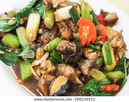 stir-fried escargot with basil
