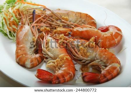 stir fried garlic river prawn - stock photo