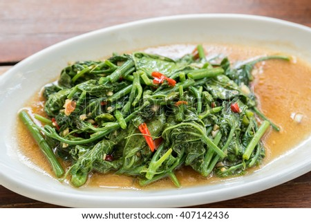 Stir Fried morning glory Thai Water Spinach