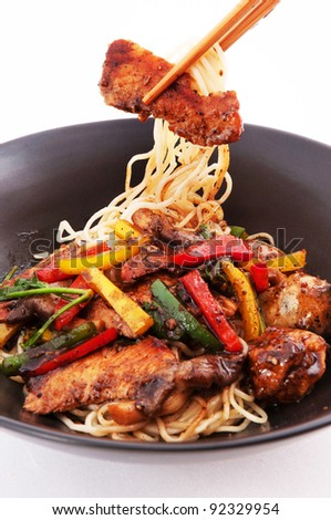 Stir-fried noodles , Chinese cuisine - stock photo