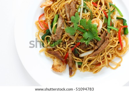 Stir-fried noodles , Chow mein , Chinese cuisine - stock photo