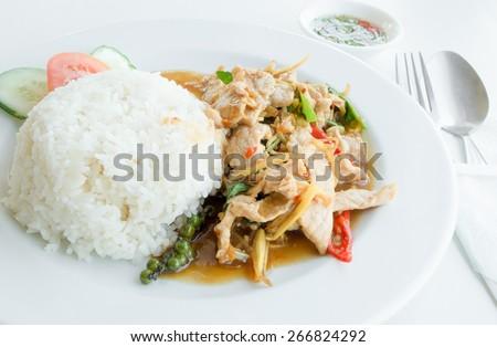 Stir-Fried Pork with Thai Herbs, spicy - stock photo