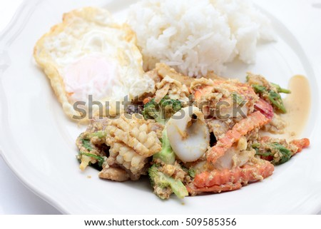 Stir-fried Soft-shelled seafood in curry powder & Thai jasmine rice