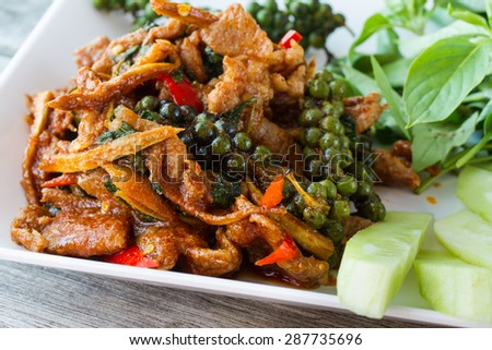 Stir-fried with spicy, thai food,