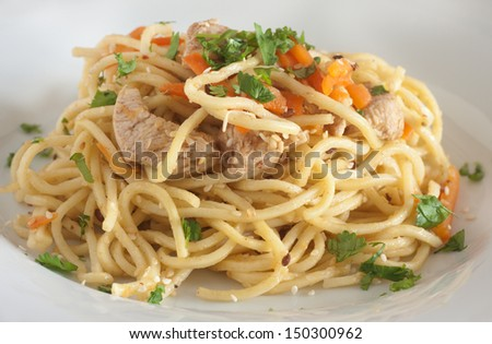 Stir fry noodle with chicken - stock photo