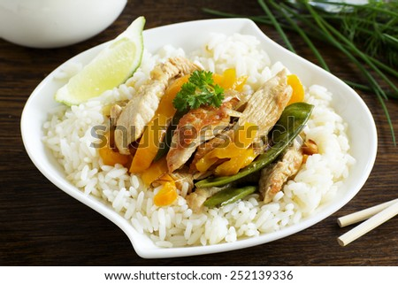stir-fry with Turkey and vegetables. - stock photo