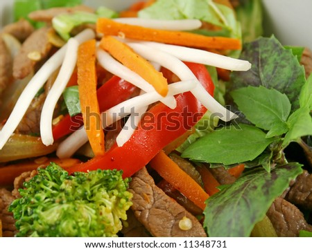 Stirfry beef and vegetables with a purple green basil garnish. - stock photo