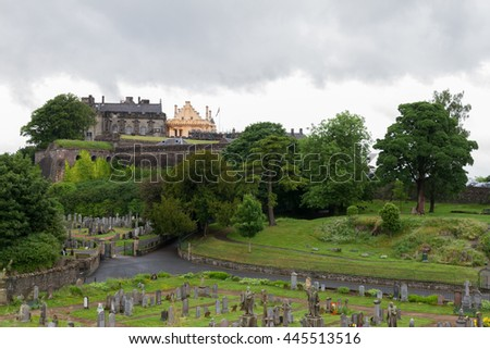Stirling Castle and cemetery of Holy Rude medieval church in Stirling, Scotland - stock photo