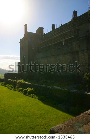 Stirling Castle in Scotland UK (includes intentional lens flare) - stock photo