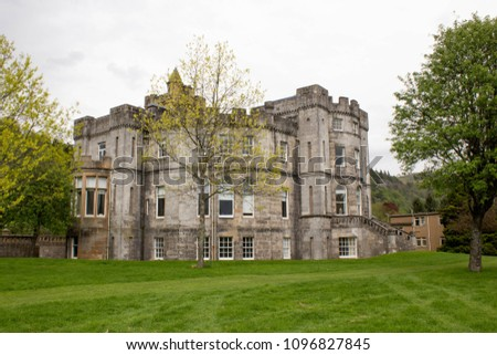 Stirling, Scotland - 11 May 2018: Airthrey Castle, Look from the Park at the the Rear Side, University of Stirling, Scotland