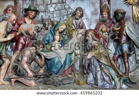 STITAR, CROATIA - AUGUST 27: Nativity Scene, altarpiece in the church of Saint Matthew in Stitar, Croatia on August 27, 2015 - stock photo