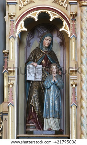 STITAR, CROATIA - AUGUST 27: St Ann with Virgin Mary, altarpiece on altar of Our Lady in the church of Saint Matthew in Stitar, Croatia on August 27, 2015 - stock photo