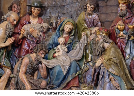STITAR, CROATIA - NOVEMBER 24: Nativity Scene, altarpiece in the church of Saint Matthew in Stitar, Croatia on November 24, 2015 - stock photo