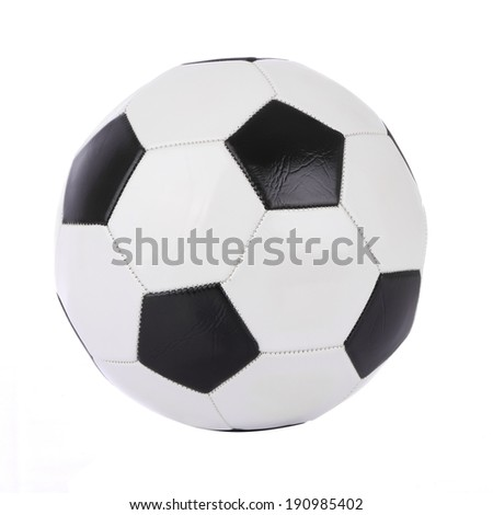 Stitch leather soccer ball on white background. - stock photo