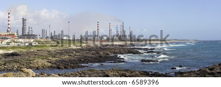 Stitch of nine images taken in the afternoon of the refinery of Leça da Palmeira in Porto (portugal) - stock photo