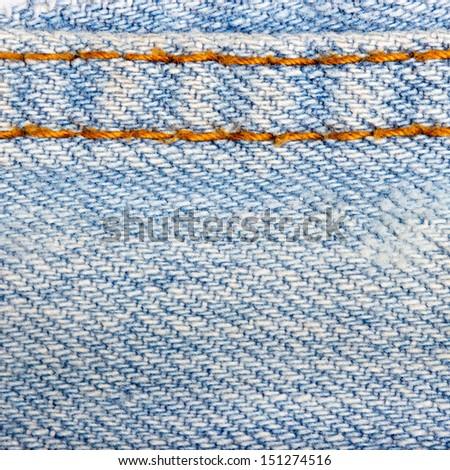 Stitched denim background  - stock photo