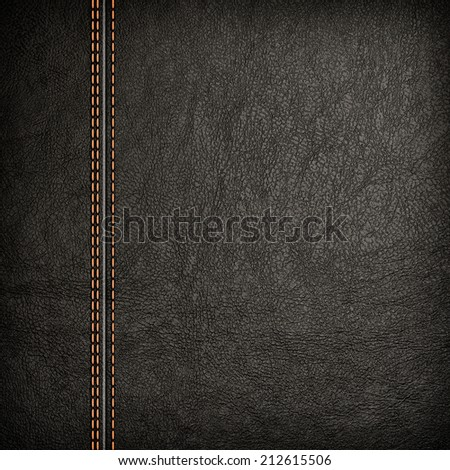 Stitched leather background in dark colors. Close up. - stock photo