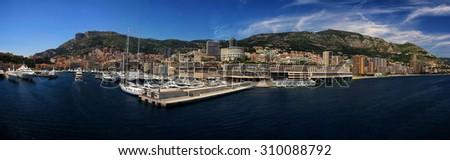 Stitched Panorama-Cityscape and harbor of Monte Carlo. Principality of Monaco  - stock photo