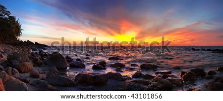Stitched panorama of seacoast in sunset time. Lanta island. Thailand. - stock photo