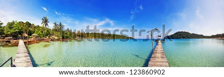 Stitched Panorama of tropical beach. Thailand - stock photo
