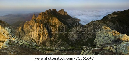 Stitched Panorama, On the top of mountains of socotra island - stock photo
