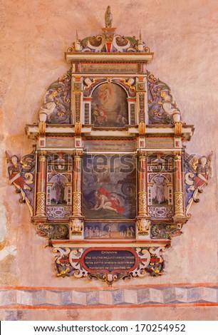 STITNIK - DECEMBER 29: Renaissance-baroque epitaph from presbytery of gothic evangelical church in Stitnik with the prophet Jonah monive on December 29, 2013 in Stitnik, Slovakia. - stock photo