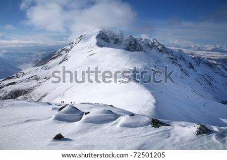Stob Ban mountain, in the Mamores above Glen Nevis, Scotland. - stock photo
