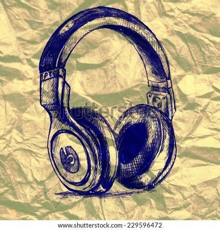 Stock abstract background illustration with headphones sketch hand drawn on paper texture - stock photo
