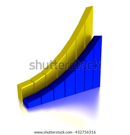 Stock Bar Chart, Business concept, 3d illustration - stock photo