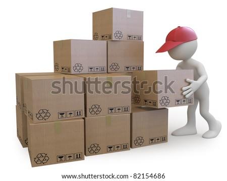 Stock boy stacking cardboard boxes - stock photo